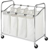 Chrome and Canvas 4-Section Laundry Sorter