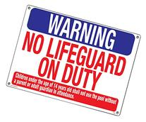 Poolmaster 40325 Warning No Lifeguard Sign for Residential