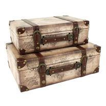 Aspire 4115 Windsor Suitcase Trunks - Set Of 2 Beige Brown