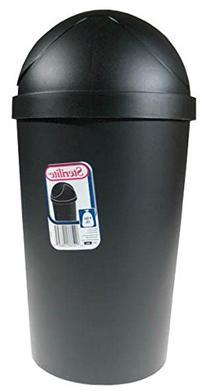 Sterilite 42 Quart Black Round Swing-Top Wastebasket