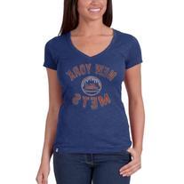 MLB New York Mets Women's V-Neck Scrum Tee, Medium, Bleacher