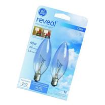 GE Lighting 48701 40-Watt Reveal Blunt Tip B10, 2-Pack