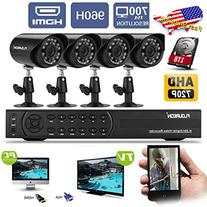 Floureon 4CH 960H Onvif CCTV DVR + 4PCS 900TVL Night Vision