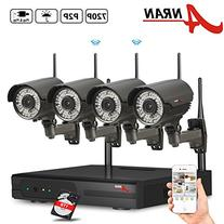 ANRAN 4CH WIFI 720P NVR Wireless Security Camera System with