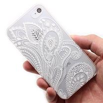 4s Case, LUOLNH Henna White Floral Paisley Flower Hard