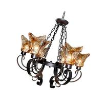 LNC 5 Lights Antique Finish Chandelier Lighting Glass Shade