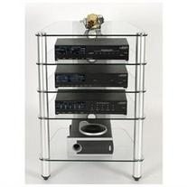5 Shelf Audio Rack in Black Glass