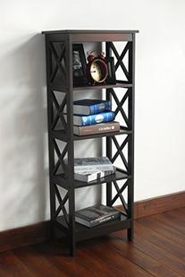 5-tier Espresso Wood Bookshelf Bookcase Display Media