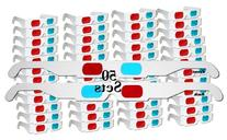 50 Pairs - FLAT- 3D Glasses Red and Cyan WHITE Frame