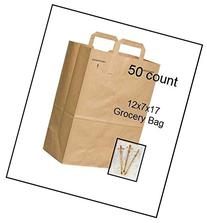 50 Paper Retail Grocery Bags Kraft with Handles 12x7x17