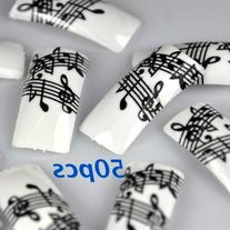 50 Black White Music Note French False Nail Tips NEW by
