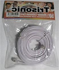 Trisonic 50 feet Telephone Extension Cord Phone Cable foot