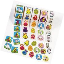 500 EASTER Stickers/5 Rolls of 100 Assorted SPRING TIME