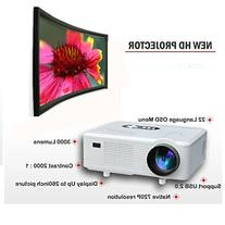 Taotaole 720p 50000hrs 3000 Lumens Multimedia Projector Home