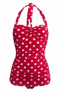 Esther Williams Women's 50s Pin Up One Piece Swimsuit-Red
