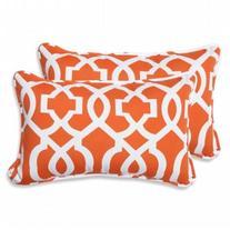 Pillow Perfect Outdoor/ Indoor New Geo Orange Rectangular