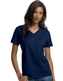 Hanes 5780 Relaxed Fit Women Comfortsoft V-Neck T-Shirt Size