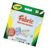 Crayola 588626 Fabric Markers, 10 Assorted Colors, 10/Set