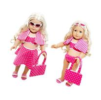 6 Piece Swimsuit Set for American Girl Dolls: Pretty Pink
