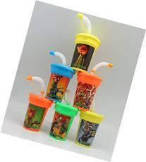 6 Zootopia Stickers Birthday Sipper Cups with lids Party
