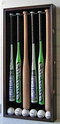 6 Baseball Bat Display Case Holder Rack Cabinet, with
