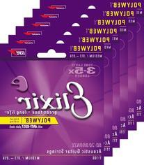 6 Sets of Elixir 11100 Medium Acoustic Strings   w/ Free