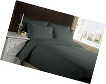 600 Thread Count 1 Peice Duvet Cover in Stripe Elephant Grey