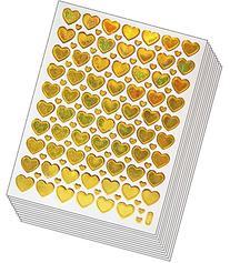 Jazzstick 600 Wedding Valentine's day Gold Heart Stickers