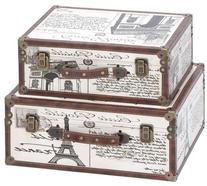Aspire 62248 Paris Decorative Suitcase Trunks Set of 2