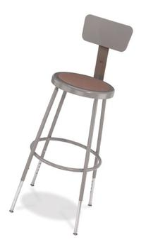 National Public Seating 6224HB  Grey Steel Stool with
