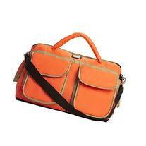 7 A.M. ENFANT Voyage Diaper Bag, Neon Orange/Beige, Small