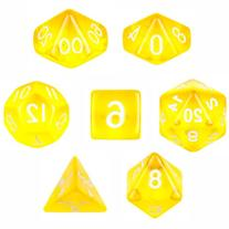 7 Die Polyhedral Dice Set - Translucent Yellow with Velvet