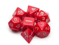 7 Die Polyhedral Dice Set - Solid Red with Velvet Pouch By