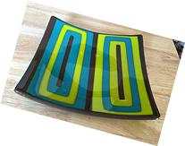 "10"" Square Plate Turquoise, Green, and Brown 70's Inspired"