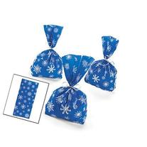 72 Blue SNOWFLAKE Cellophane GOODY Bags 6 DOZEN - WINTER/