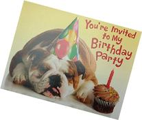 Bulldog in Party Hat Kids Birthday Party Fill-in Invitation