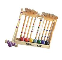 8 Player Croquet Set Amish-made in Wood Rack with 32""