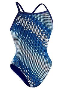 Speedo 8191506 Youth Razor Dot Flyback Swimsuit, Blue - '12/