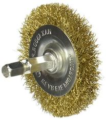 "Kawasaki 841520 Fine Wire Wheel Brush, 1/4"" Shank, Brass,"