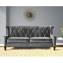 Armen Living 844 Barrister Sofa, Gray Velvet, Black Piping