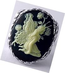 .925 Sterling Silver Black Butterfly Fairy Large Cameo Ring