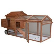 Pawhut 96 Wheeled Tractor Hen House Chicken Coop w/ Run