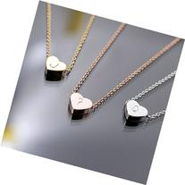 A Tiny Heart Initial Necklace - 16K Gold or Silver -Plated