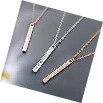 A Your Name Vertical Necklace 16K Gold Silver Rose Gold Bar