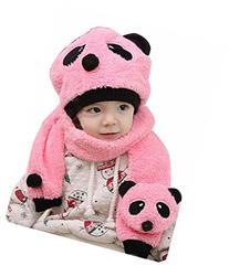 ACEFAST Children Hat 100% Wool Hat+Scarf Two Piece Set Panda