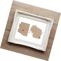 ANY Two States Love Connection Art Print - unframed -