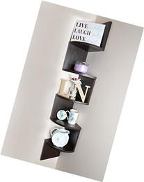 Adorn Home Essentials Corner Zig Zag Wall Mount Shelves| 5-