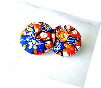 African Fabric Button Earrings, Orange Blue Gold Ankara Stud