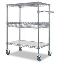 Alera - Three-Tier Wire Rolling Cart, 34w x 18d x 40h, Black