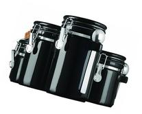 Anchor Hocking 4-Piece Black Ceramic Canister Set with